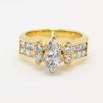 Modern Estate 18K Yellow Gold Marquise Diamond 2.00TW Engagement Wedding Right Hand Ring