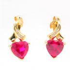 Modern Estate Ladies 10K Yellow Gold Red Heart Diamond Push Back Earrings