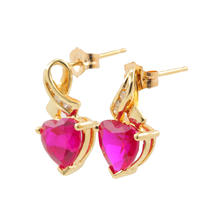 Modern Estate Ladies 10K Yellow Gold Red Heart Diamond Push Back Earrings