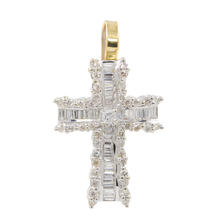 Modern Estate 18K White Gold Diamond 0.85CTW Cross Pendant
