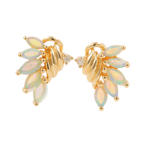 Estate Ladies 14K Yellow Gold Opal and Diamond Push Back Earrings
