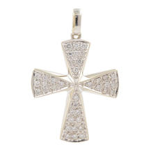 Modern Estate 18K White Gold VS Diamond 0.75CTW Cross Pendant