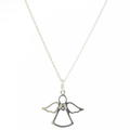 "NEW Modern Sterling Silver 925 Angel Pendant 19"" Cable Link Chain"