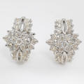 Retro Classic Estate 18K White Gold Natural Diamond 1.50CTW Huggie Latch Back Earrings