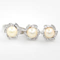 Classic Estate 14K White Gold Cultured Pearl and Diamond 2 PC Jewelry Set