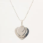 "Modern Estate Silver 925 Heart Friends Pendant 20"" Bead Spring Ring Clasp Chain"