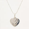 """Modern Estate Silver 925 Heart Friends Pendant 20"""" Bead Spring Ring Clasp Chain"""