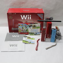 Nintendo Wii Red Video Game Console System RVL-00 W/Super Mario Bros. Game Plus Extras