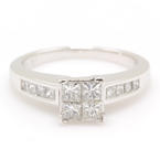NEW Modern 14k White Gold Princess Cut Diamond 0.96CTW Engagement Ring