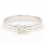 Classic 14K White Gold Brilliant Cut 0.20CTW Diamond Solitaire Engagement Ring