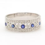 Charming Ladies 14K White Gold Diamond and Sapphire 0.65CTW Anniversary Wedding Band Jewelry