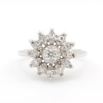 Exquisite Estate Ladies 14K White Gold Diamond Cluster Right Hand Cocktail Ring