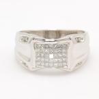 Modern Men's Estate 14K White Gold Diamond 0.65CTW Ring Band