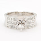 NEW 14K White Gold Princess Cut Diamond VS 1.50CT Semi Mount 6mm Engagement Ring