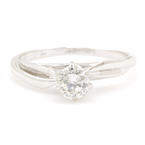 Classic 14K White Gold Brilliant Cut VS 0.35CTW Diamond Solitaire Engagement Ring