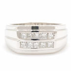 NEW Modern Men's 14K White Gold Princess Cut 1.20CTW Diamond Ring Band