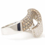 Estate Retro 18K White Gold Chocolate Diamond 2.00CTW Cocktail Right Hand Ring