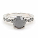 NEW Modern Unique 14K White Gold Black Diamond 2.20CTW Engagement Ring