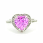 NEW Modern 14K White Gold Pink Heart Topaz Diamond 3.25CTW Right Hand Promise Ring