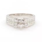 NEW 18K White Gold Princess Diamond 1.35CT Semi Mount 6.5mm Engagement Ring