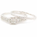 NEW Modern 10K White Gold Diamond Wedding Ring Duo Set