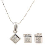 Classic Estate 18K White Gold Princess Cut Diamond Pendant Chain Push Back Earrings Set