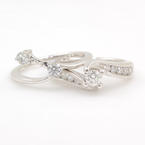NEW Modern Ladies 14K White Gold 1.00CTW Diamond Wedding Ring Duo Set
