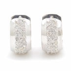 Classic Ladies 14k White Gold Diamond 1.00CTW Huggie Earrings Jewelry