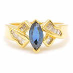 Retro Estate 18K Yellow Gold Sapphire Diamond 1.08CTW Right Hand Ring
