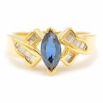 Retro Estate 18K Yellow Gold Sapphire Diamond 1.08CTW Right Hand Ring
