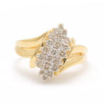 NEW Modern Ladies 14K Yellow Gold Diamond 0.60CTW Cluster Ring Jewelry