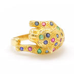 Retro Estate 18K Yellow Gold Panther Diamond Sapphire Ruby Emerald 0.73CTW Right Hand Ring