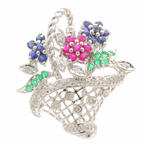 Vintage Estate 14k White Gold Diamond Spinel Emerald 1.00CT Flower Basket Brooch