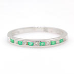 Modern Estate PT950 Emerald Diamond Anniversary Ring Band