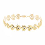 Modern Estate Ladies 10K Yellow Gold  Filigree Heart Accent Bracelet Jewelry