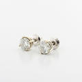 Gleaming 14K White Gold Round Diamond Screw Back Stud Earrings Retail $6000