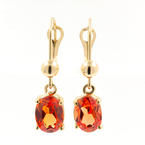 Modern Estate 14k Yellow Gold Orange Oval Gemstone Drop French Back Earrings