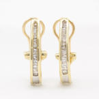 Modern Estate 10k Yellow Gold Diamond Omega Back 20MM Half Hoop Earrings