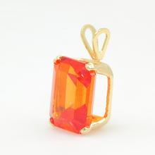 Retro Estate 14K Yellow Gold Orange Topaz Emerald Cut 3.00CTW Statement Pendant