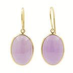 Modern Estate 14K Yellow Gold Purple Jade Bezel Set Drop Earrings