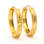 Classic Estate Ladies 22K Yellow Gold 20MM Hoop Snap Back Earrings
