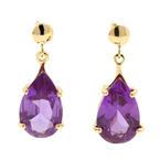 Retro Estate Ladies 14K Yellow Gold Purple Pear Cut Gemstone 8.00CTW Drop Push Back Earrings