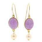 Classic Estate 14K Yellow Gold Purple Jade Bezel Set Drop Earrings