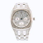Handsome Men's Bulova 96C002 Silver Crystal Dial Stainless Steel Band Watch