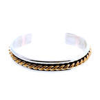 Beautiful Daniel Mike Sterling Silver 925 12k G.F Rope Link Design  Cuff Bangle