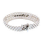 Ladies Wide Bismarck Mesh Cable Link Bracelet Italian 925 Sterling Silver