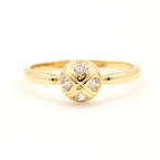 NEW Modern 14K Yellow Zirconia Right Hand Ring