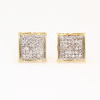 Modern 10K Yellow Gold Diamond 0.50CTW Screw Back Stud Earrings
