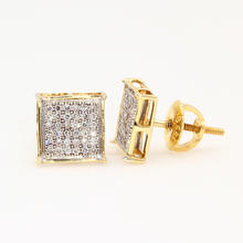 Modern 10K Yellow Gold Diamond 0.50CTW Screw Back Stud Earrings
