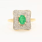Retro Estate Ladies 14K Yellow Gold Diamond Emerald 1.00CTW Cocktail Ring